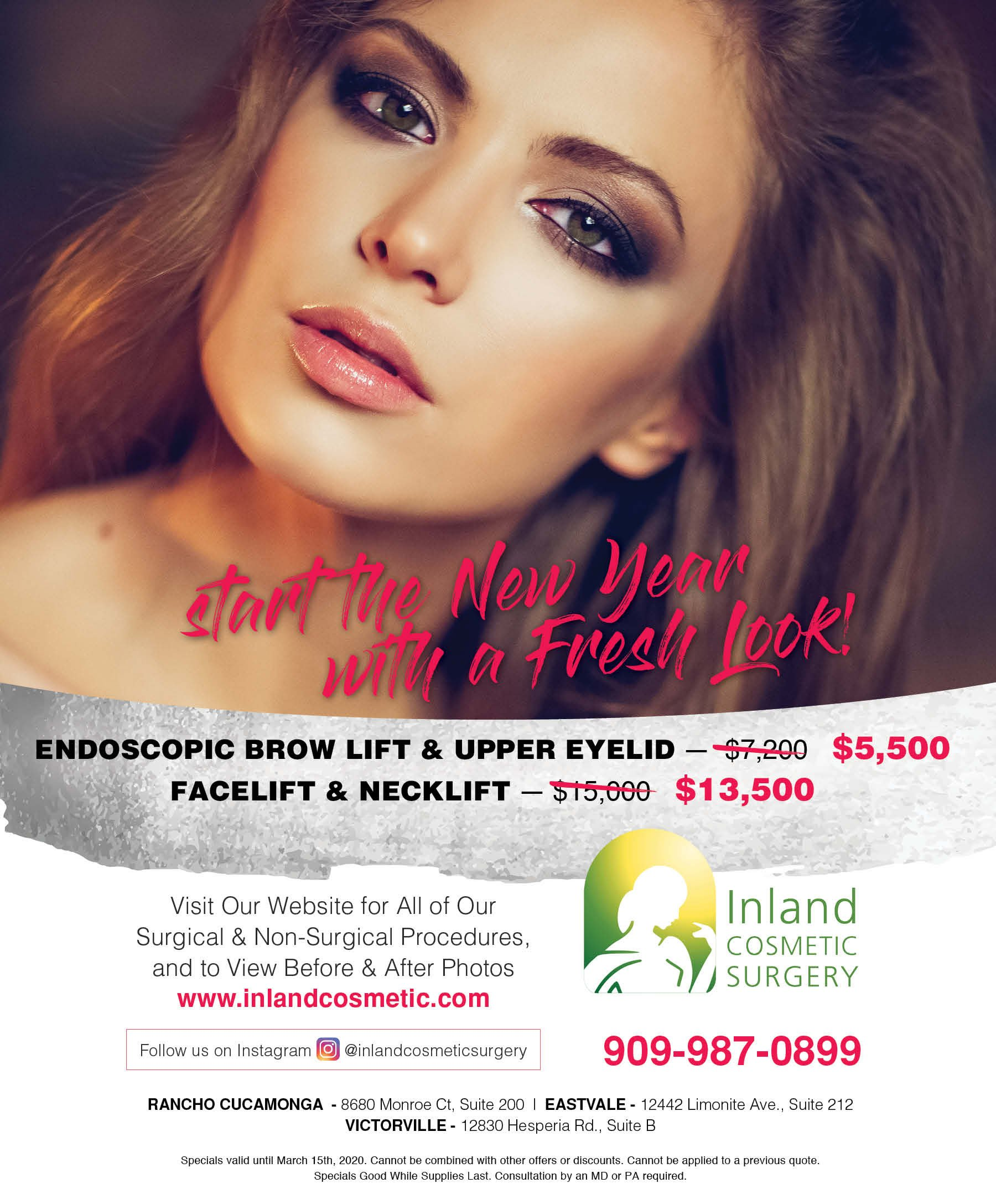 Start the New Year with a Fresh Look! Savings on Endoscopic Brow Lift and Upper Eyelid + Facelift and Necklift