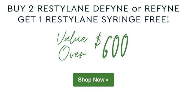 Buy 2 Restylane Defyne or Refyne, Get 1 Restylane Syringe Free